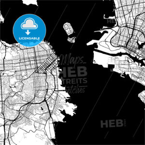 San Francisco, USA, Monochrome Map Artprint - HEBSTREIT's Sketches