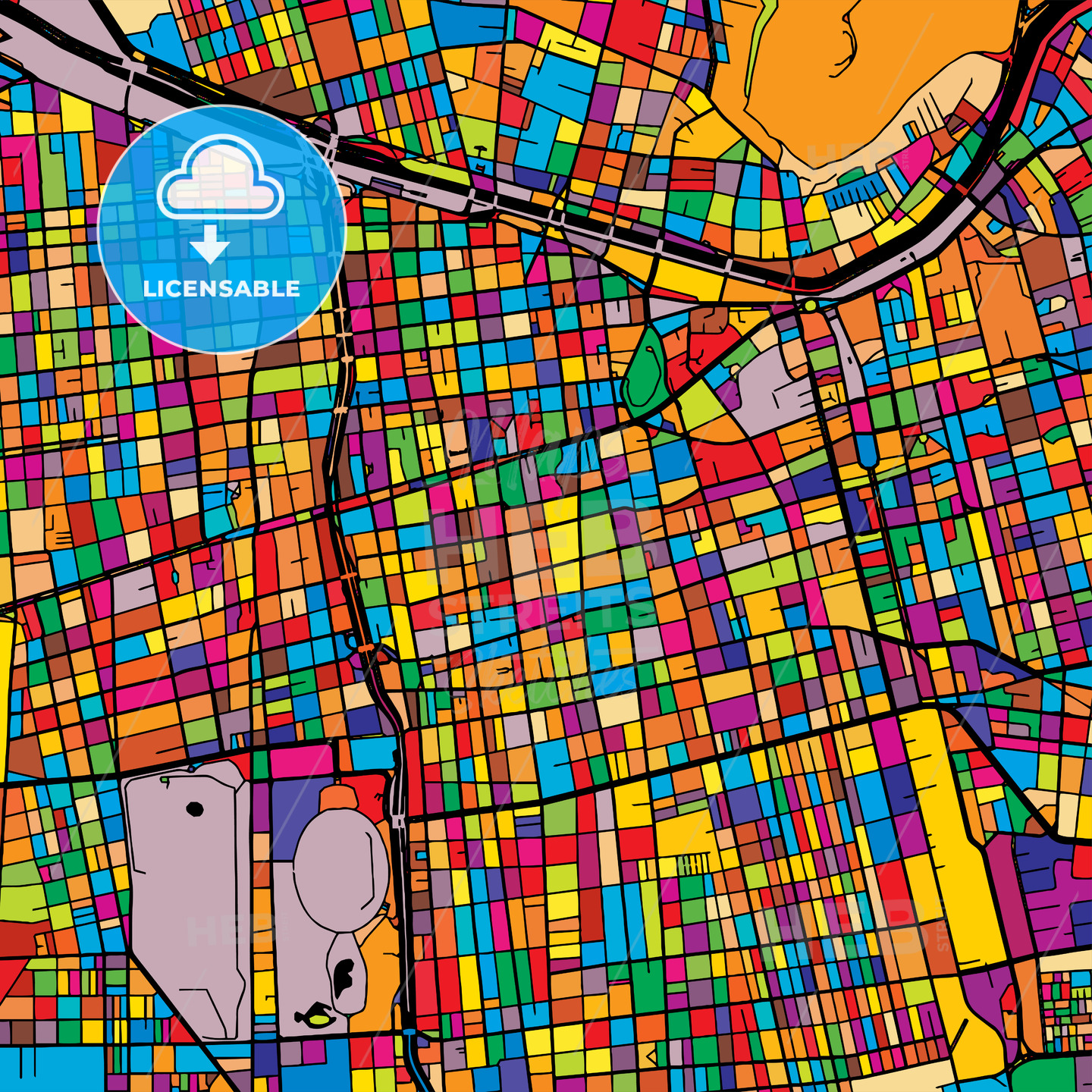 Santiago Colorful Map on Black - HEBSTREIT's Sketches