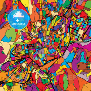 Santiago de Compostela Colorful Vector Map on Black - Hebstreits