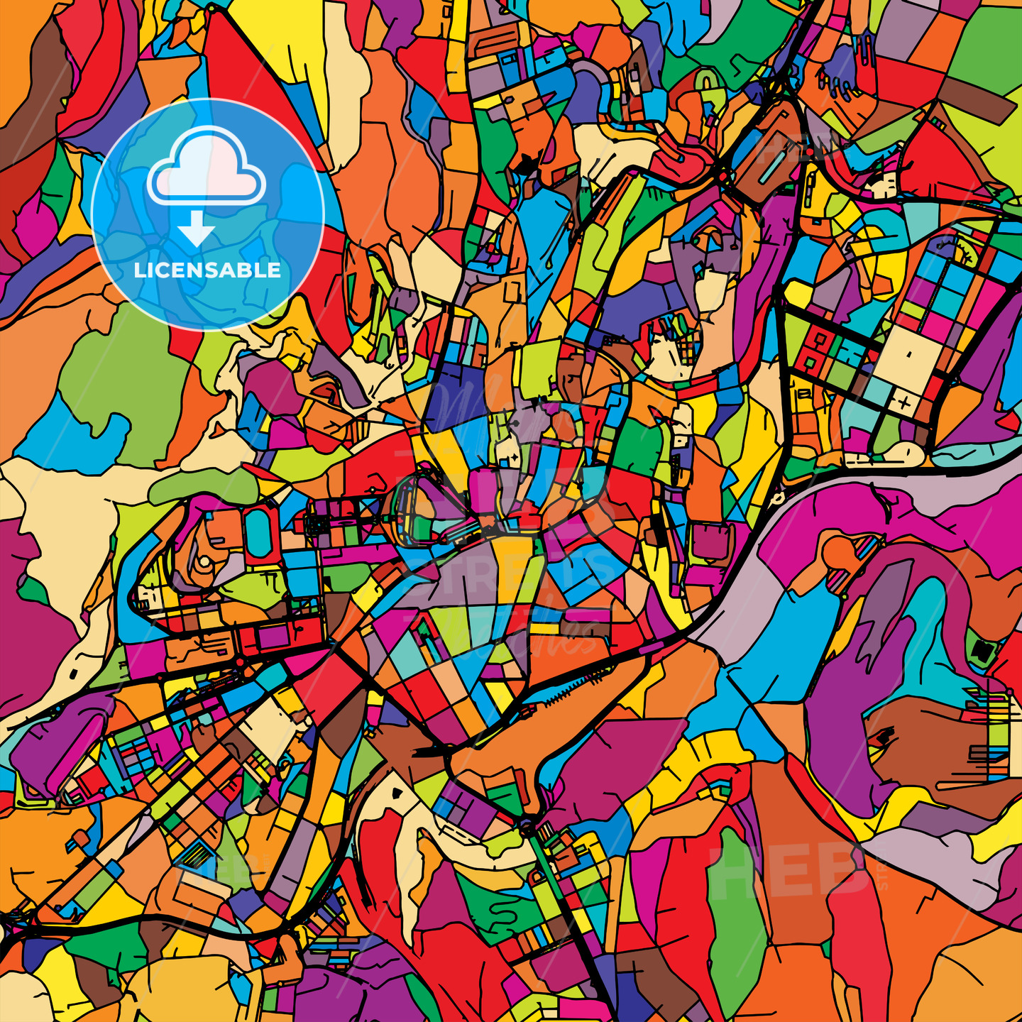 Santiago de Compostela Colorful Vector Map on Black - HEBSTREIT's Sketches
