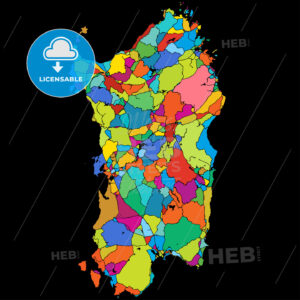 Sardinia, Island, Italy, Colorful Vector Map on Black - Hebstreits
