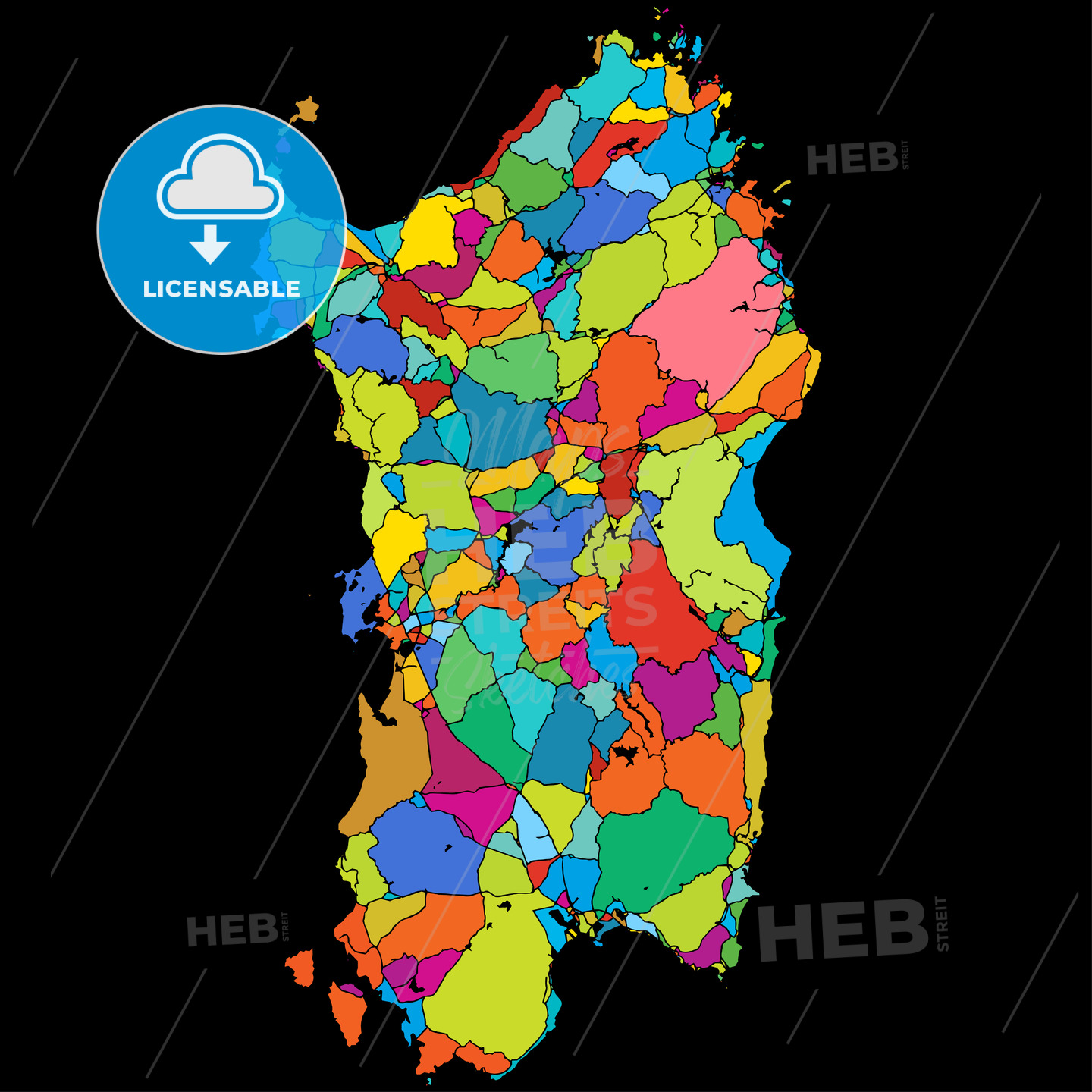 Sardinia, Island, Italy, Colorful Vector Map on Black - HEBSTREIT's Sketches