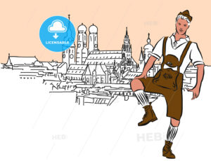 Schuhplattler in Munich, Vector Hand Drawn Sketch. - Hebstreits