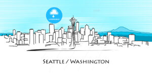 Seattle Panorama, Hand Drawn Outline Artwork - Hebstreits