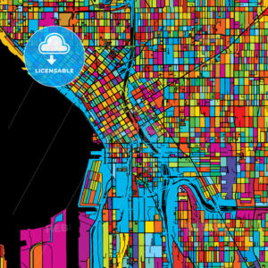 Seattle, Washington, USA, Colorful Vector Map on Black - HEBSTREIT's Sketches