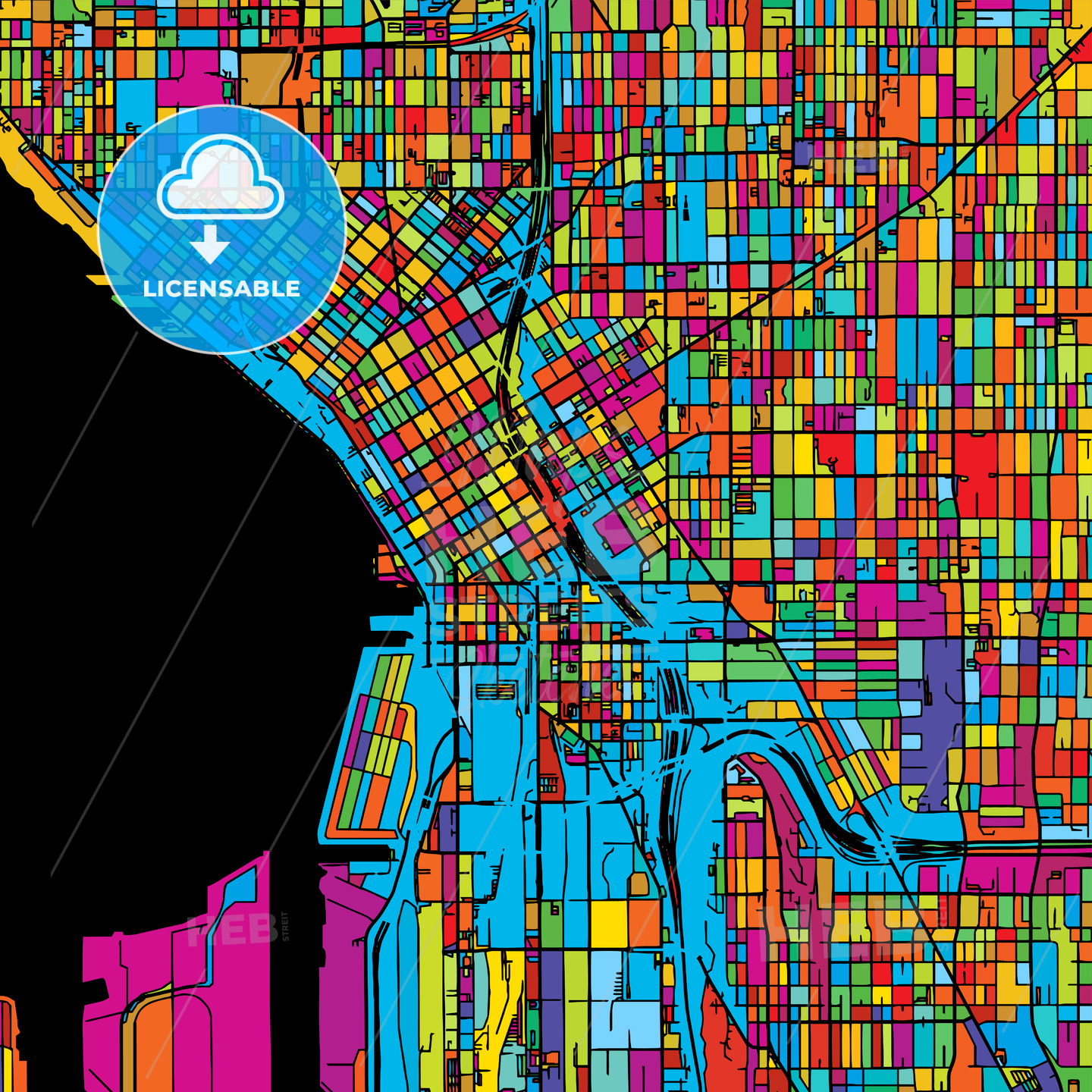 Seattle, Washington, USA, Colorful Vector Map on Black - Hebstreits