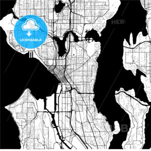 Seattle, Washington, USA, Monochrome Map Artprint - HEBSTREIT's Sketches