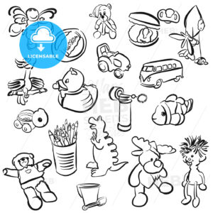 Set of Outlined Baby Doodles - Hebstreits