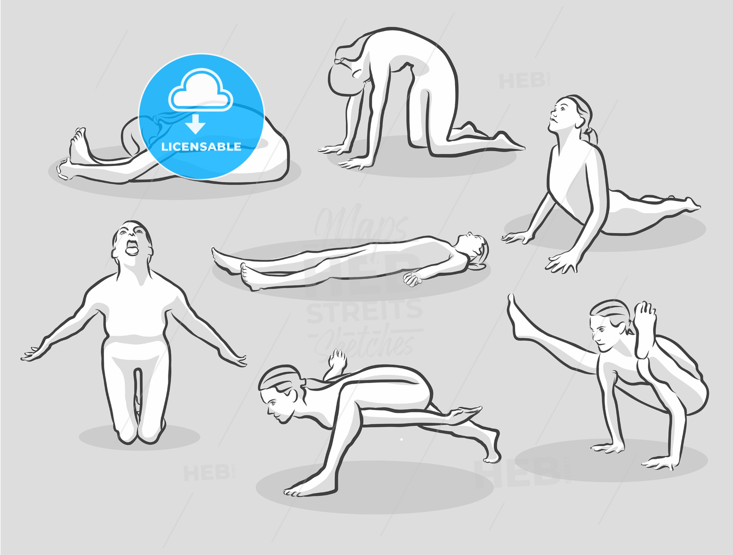 Seven Various Easy and Intermediate Yoga Poses - Hebstreits