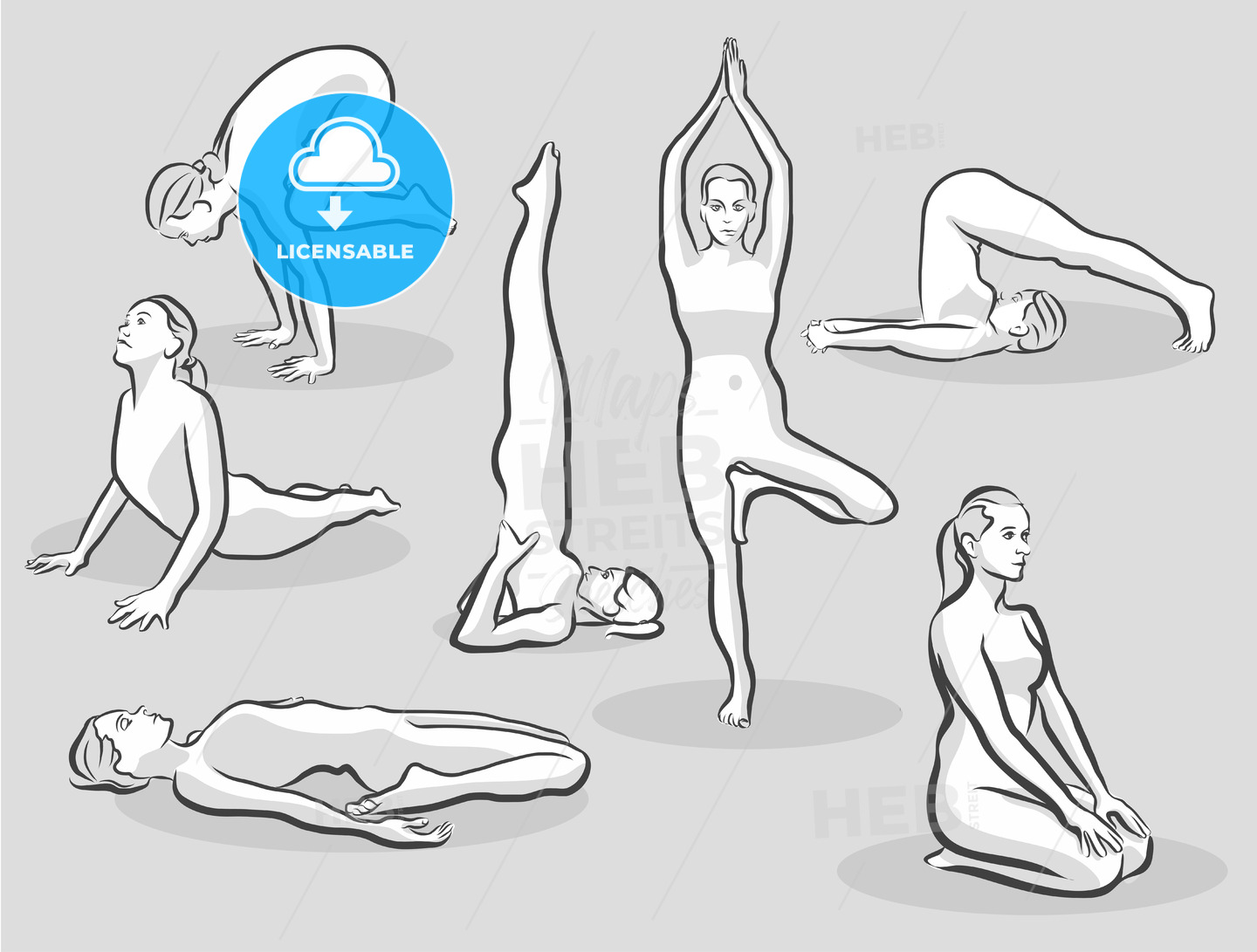 Seven Various Halftone Yoga Poses - Hebstreits