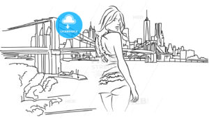 Sexy Girl  in a lace lingerie in Front of New York Skyline - Hebstreits