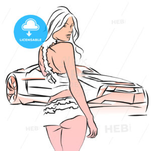 Sexy Girl with Sports Car, Hand drawn Sketch - Hebstreits