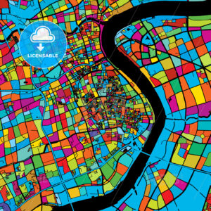 Shanghai, China, Colorful Vector Map on Black - Hebstreits