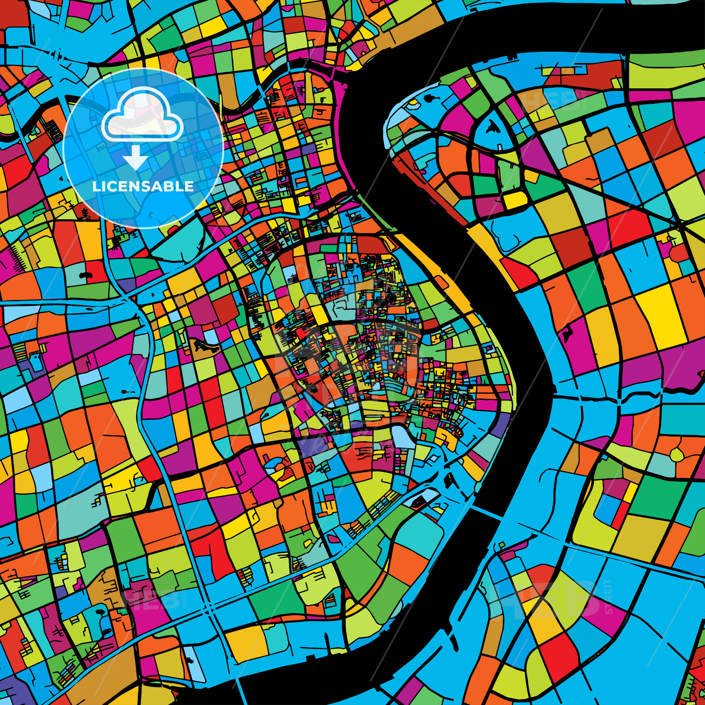 Shanghai, China, Colorful Vector Map on Black - HEBSTREIT's Sketches