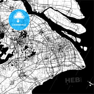 Shanghai, China, Monochrome Map Artprint - HEBSTREIT's Sketches