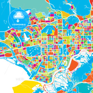 Shenzen Colorful Vector Map - Hebstreits