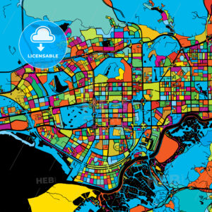 Shenzen Colorful Vector Map on Black - HEBSTREIT's Sketches