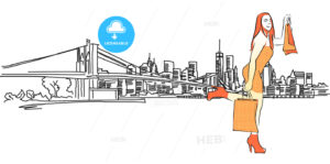 Shopping Queen in Front of New York Panorama - Hebstreits