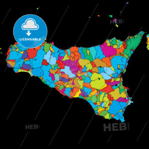 Sicily Island, Italy, Colorful Vector Map on Black - Hebstreits