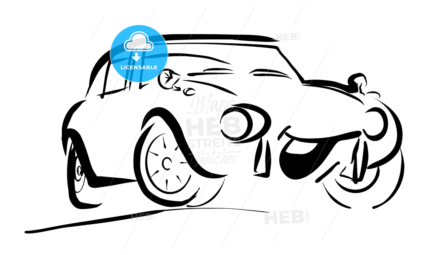 Simple sportive smiling Comic Car - Hebstreits