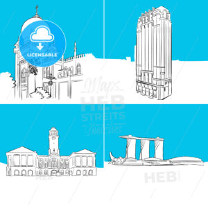 Singapore Famous Buildings Vector Sketches - Hebstreits