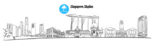 Singapore Hand drawn Vector Skyline - Hebstreits