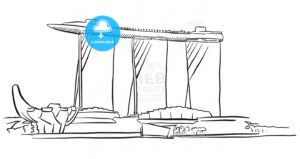Singapore Marina Bay Outline Sketch - Hebstreits