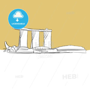 Singapore Marina Bay Vector Sketch - Hebstreits
