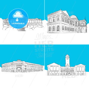 Singapore Public Landmark Vector Sketches - Hebstreits