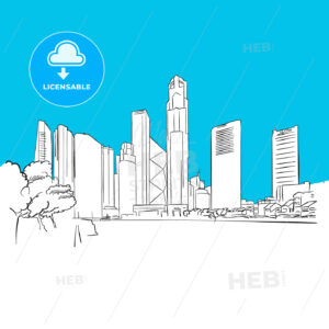 Singapore Republic Plaza Vector Sketch - Hebstreits