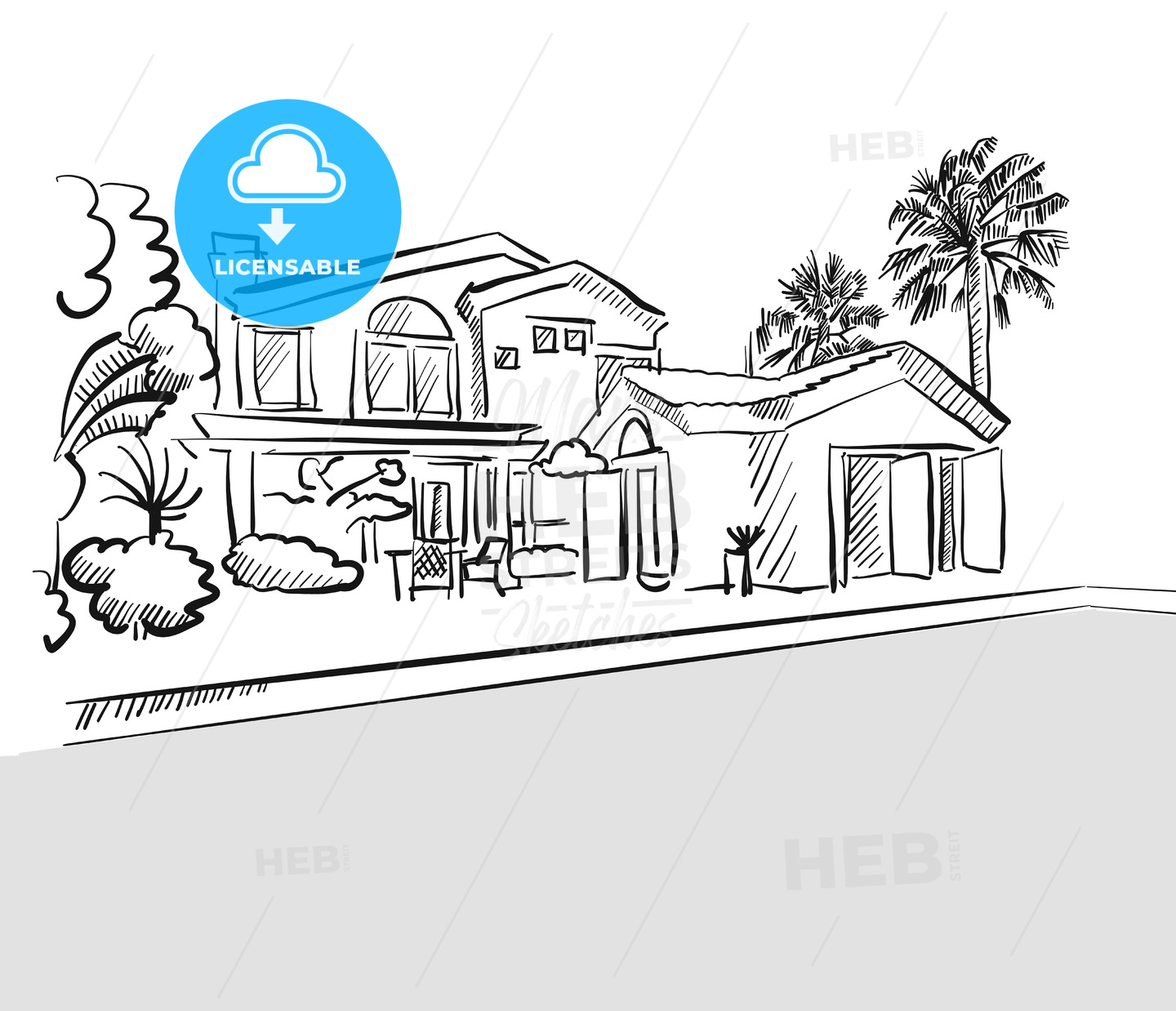 Sketch dream house among palm trees - Hebstreits