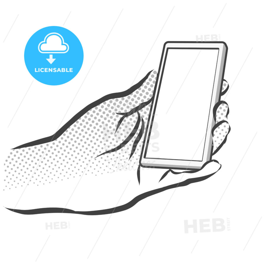 Sketched Hand Holding Mobile Phone - Hebstreits