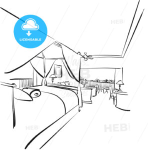 Sketched Hotel Room Interieur with Balcony - Hebstreits
