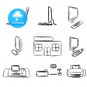 Sketches of Laptops and Desktop PC - Hebstreits