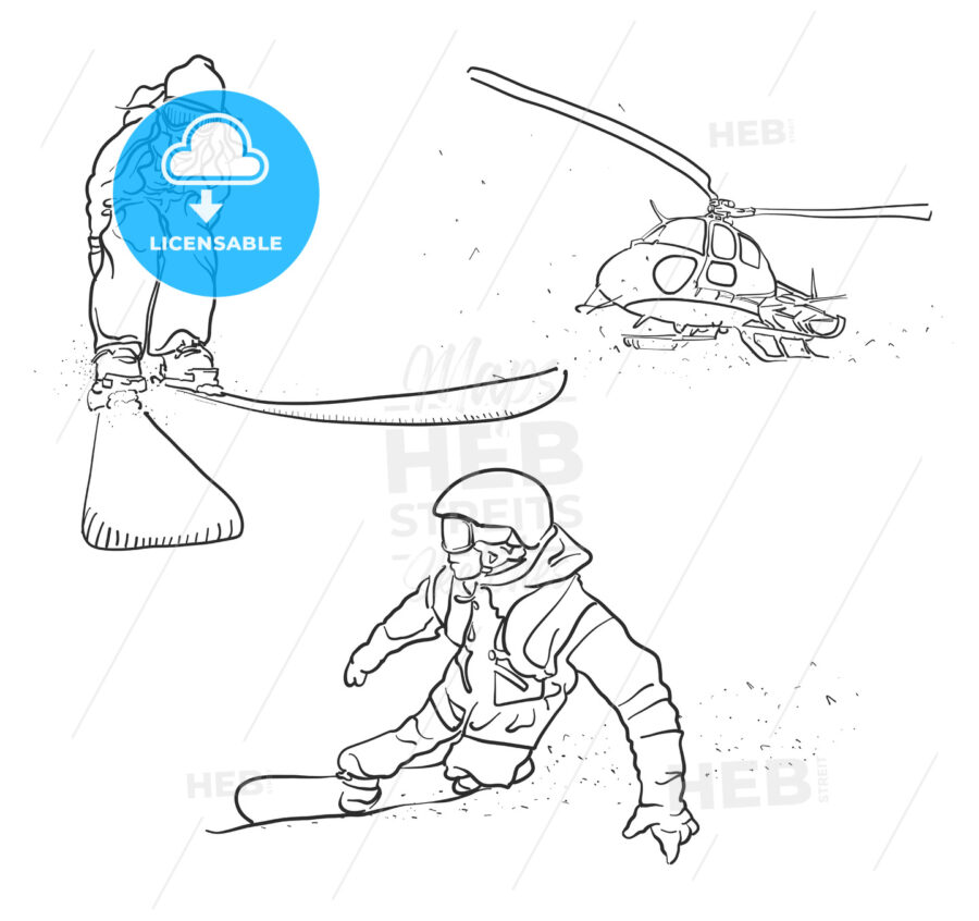 Skiing, Snowboarding and Helicopter Doodle Sketches - Hebstreits