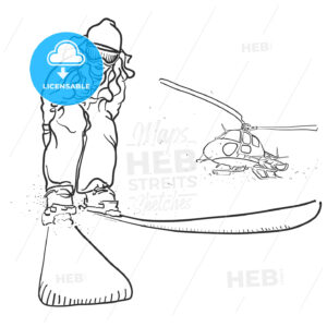 Skiing and Helicopter Doodle Sketches - Hebstreits