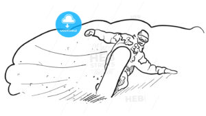 Snowboarding Freestyle Speed Line Drawing Sketch - Hebstreits
