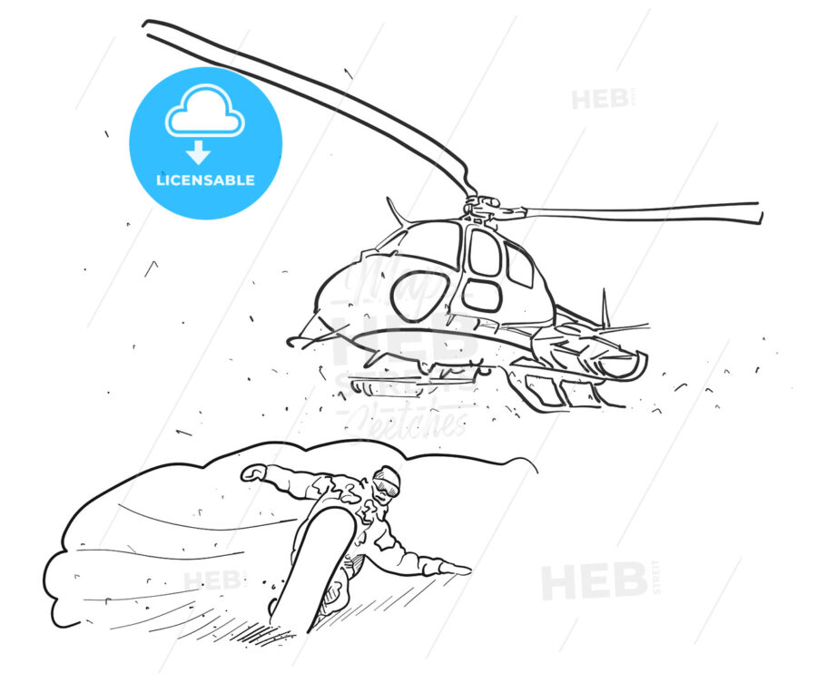 Snowboarding and Helicopter Doodle Sketches - Hebstreits