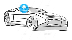 Sports Car Line Art Sketch - Hebstreits
