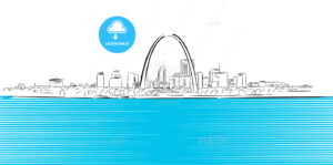St Louis, Missouri, Hand-drawn Outline Sketch - Hebstreits