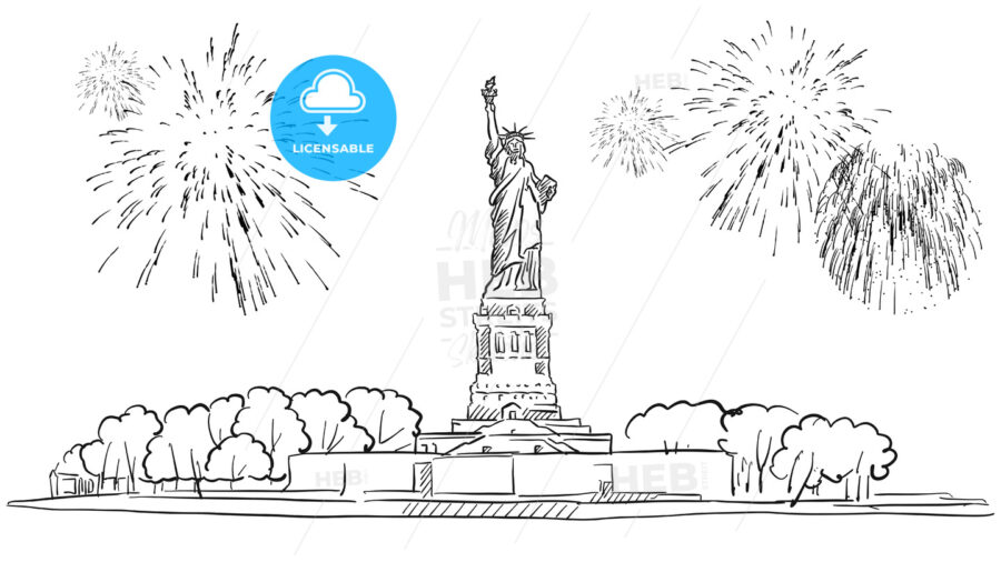Statue of Liberty with Firework Illustration - Hebstreits