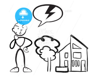 Stick figure man reports household damage - Hebstreits