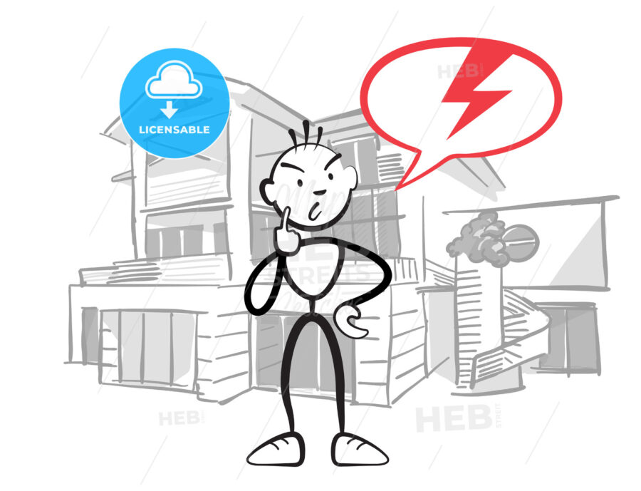 Stick figure man reports insurance damage to house - Hebstreits