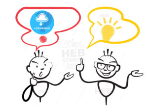 Stick figure question mark and idea - Hebstreits