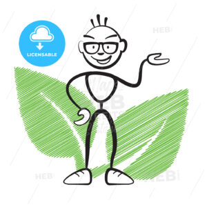 Stick figure with plant symbol - Hebstreits