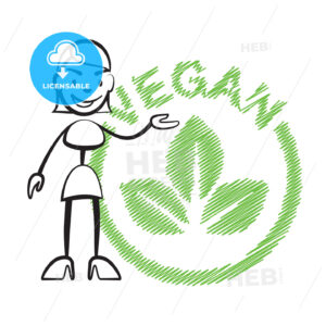 Stick figure woman vegan - Hebstreits