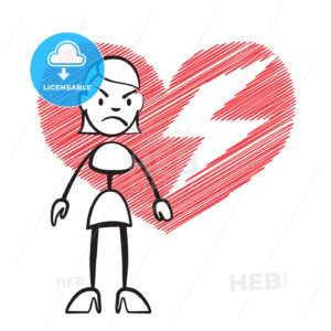 Stick figure woman with broken heart - Hebstreits