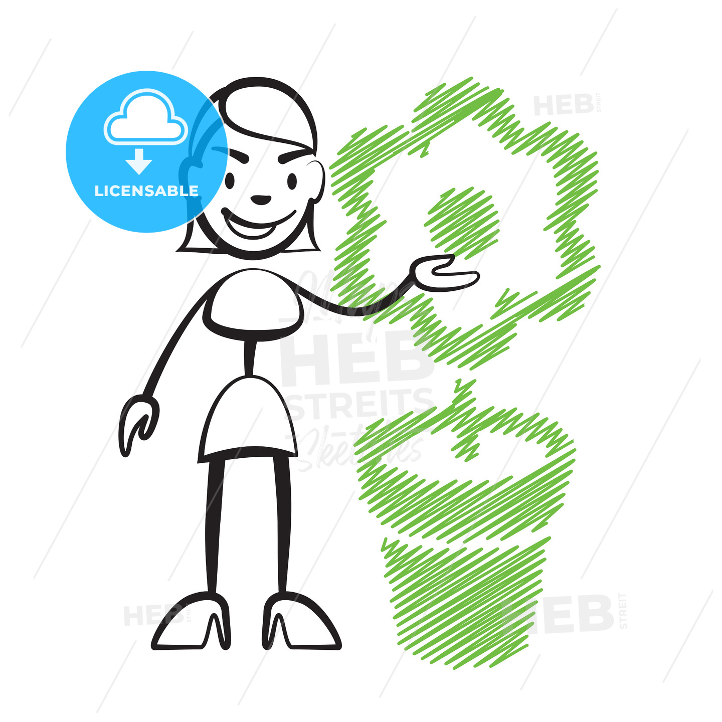 Stick figure woman with flower - Hebstreits