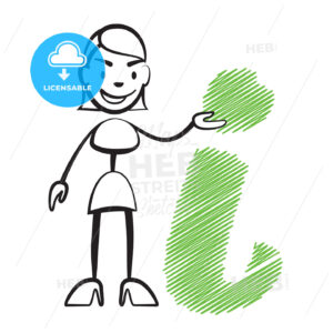 Stick figure woman with info sign - Hebstreits