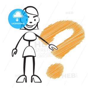 Stick figure woman with question mark - Hebstreits